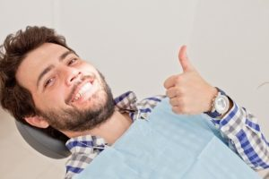 Man happy at dentist