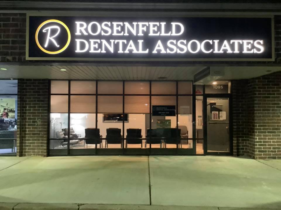 a nighttime view of the exterior of Rosenfeld Dental Associates
